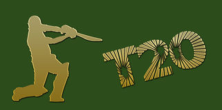 Golden T20 Cricket Banner On Green Royalty Free Stock Photography