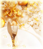 Golden table decoration Royalty Free Stock Photography