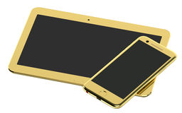 Golden Tablet Computer and Smartphone Stock Photography