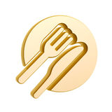 Golden tableware Royalty Free Stock Image