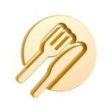 Golden tableware. Symbol isolated on white background Royalty Free Stock Image
