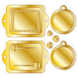 Golden tags or labels. Golden tag or label collection over white background Royalty Free Stock Photo