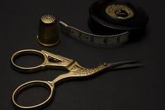 Golden tailoring utensils. High resolution image Stock Photo