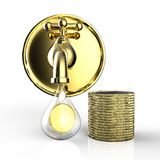 Golden tap with gold coins falling Stock Image