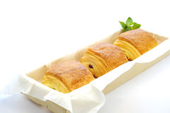 Golden tasty three Pain au Chocolat in basket. Stock Image