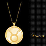 Golden Taurus Pendant Necklace  Royalty Free Stock Images