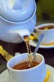 Golden tea. Flowing golden tea into cup. Shoot 30D Royalty Free Stock Image