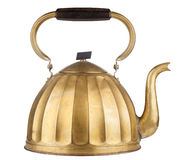 Golden tea kettle. Vintage golden tea kettle isolated on white background Stock Images