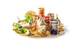 Golden tea service green mint leaves Ramadan Mubarak Royalty Free Stock Image