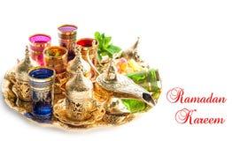 Golden tea service Ramadan islamic muslim decoration Stock Image