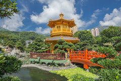 Golden teak wood pagoda at Nan Lian Garden in Hong Kong Stock Images