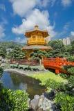 Golden teak wood pagoda at Nan Lian Garden in Hong Kong Stock Photo