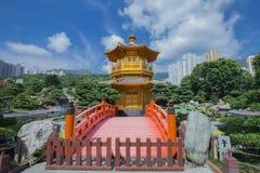Golden teak wood pagoda at Nan Lian Garden in Hong Kong Royalty Free Stock Image