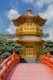 Golden teak wood pagoda at Nan Lian Garden in Hong Kong. China Royalty Free Stock Photos