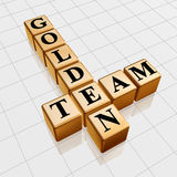 Golden team crossword. 3d gold boxes with text - golden team, crossword Royalty Free Stock Photo