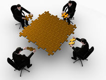 Golden team  puzzle. Render of four  businessman building a golden puzzle  and white background Stock Photography