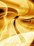 Golden tech layout. With human face profile royalty free illustration