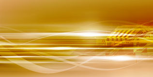 Golden technological background. Gold vivid yellow motion flows and lights in many directions. Great hi-tech background for you Stock Photos
