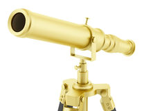 Golden telescope on tripod isolated on white Royalty Free Stock Photos