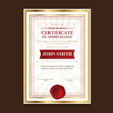 Golden template certificates with a vintage print for the ceremony and congratulations. Stock Photos