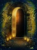 Golden temple 2. Fantasy door with golden lights and green vines Royalty Free Stock Photos