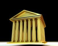 Golden temple. 3d illustration of greek temple on black background (stocks exchange building symbol stock illustration