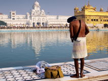 Golden Temple. Sikh person with traditional sword bathing on the holy water of the Harmandir Sahib Temple. It is culturally the most significant place of worship royalty free stock photography
