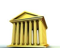 Golden temple. 3d illustration of greek temple on white background (stocks exchange building symbol royalty free illustration