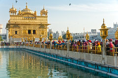 Golden Temple in Amritsar, Punjab, India. AMRITSAR, INDIA - DECEMBER 17: Sikh pilgrims in the Golden Temple during celebration day in December 17, 2007 in Royalty Free Stock Images
