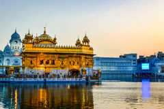 Golden Temple in Amritsar, Punjab. Morning view of Golden temple in Amritsar, Punjab with people Stock Images
