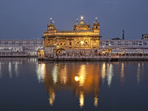 Golden temple of Amritsar at sunrise Stock Photo