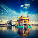 Golden Temple, Amritsar. Vintage retro hipster style travel image of famous India attraction Sikh gurdwara Golden Temple (Harmandir Sahib). Amritsar, Punjab Royalty Free Stock Photography