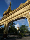 Golden Temple Arch and Blue Sky in Burma Stock Images