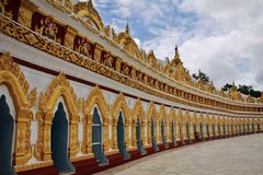 Golden temple courtyard in Sagaing, Myanmar Stock Photos