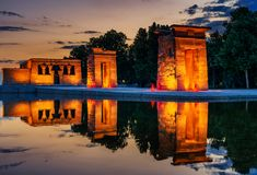 The Golden Temple of Debod. Sunset of the Temple of Debod, it is an ancient Egyptian temple that was dismantled and rebuilt in Madrid, Spain