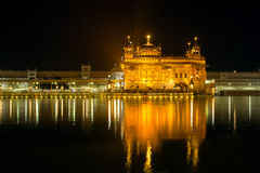 Golden Temple Harmandir Sahib at night in Amritsar. Punjab, India Royalty Free Stock Photos