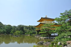 The Golden temple Kinkaku-ji in Japan in Kyoto. Temple of the Golden Pavilion Kinkaku-ji in Japan in Kyoto Royalty Free Stock Photo