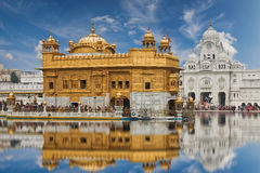 The Golden Temple, located in Amritsar, Punjab, India. Famous indian landmark - Sikh gurdwara Golden Temple (Harmandir Sahib). Amritsar, Punjab, India Stock Photo