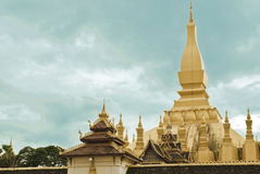 Golden temple (That Luang). Pha That Luang Laos's most Attractive temple in vientienne, laos, south Asia Stock Photos