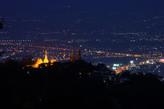 Golden temple on the mountain at night Stock Images