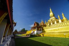 Golden temple at Pha That Luang in Vientiane, Laos Stock Photography