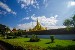 Golden temple at Pha That Luang in Vientiane, Laos stock photos