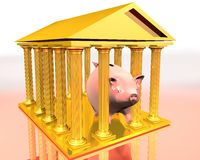 Golden temple and piggy-bank. 3d illustration of greek temple on white background and a piggy-bank inside vector illustration
