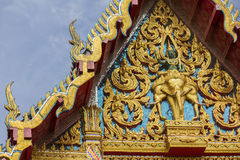The golden temple roof in thai temple Royalty Free Stock Photos