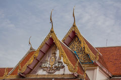 The golden temple roof in thai temple. Thai culture Royalty Free Stock Photo