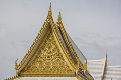 The golden temple roof in thai temple. White Stock Image