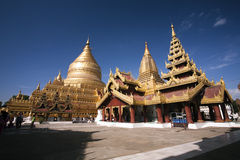 Golden temple Shwezigon Paya in Nyaung U (Bagan) - Myanmar Royalty Free Stock Photography