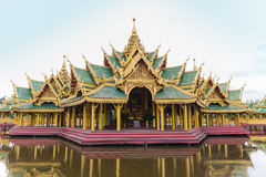 Golden temple with stair to pool Royalty Free Stock Image
