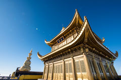 A golden temple at the top of the Emei Mountain Stock Photography
