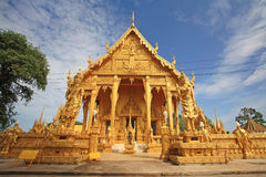 Golden temple of Wat Pak Nam against blue sky Stock Photography
